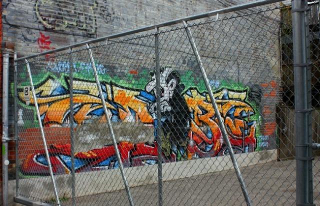 Toronto - graffiti fence view