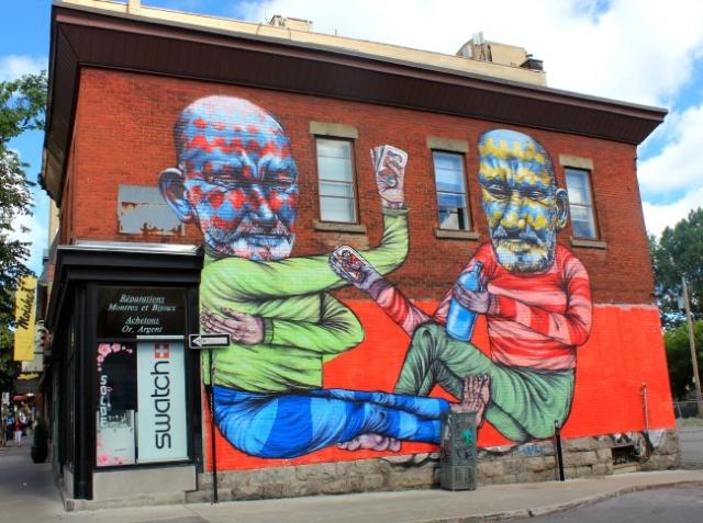 Montreal - cardplaying graffiti men