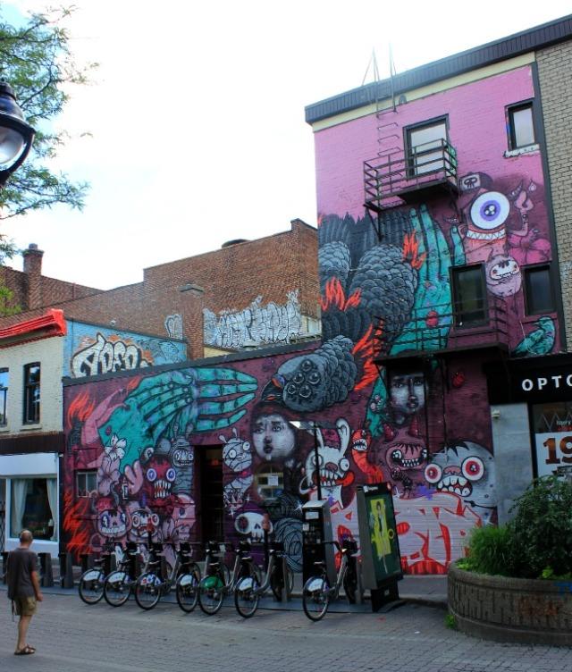 Montreal - purple graffiti building