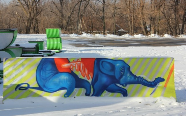Omaha - graffiti elephant